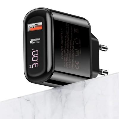 Сетевое зарядное устройство Usams US-CC085 T23 (QC3.0+PD3.0 18W) Fast Charger Black