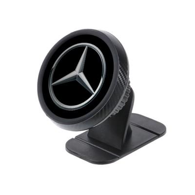Магнитный держатель для телефона в авто на торпедо Magnetic Phone Bracket с логотипом Mercedes Benz Черный