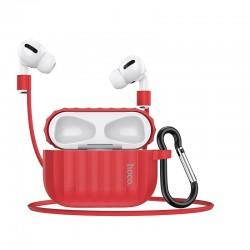 Комплект для Apple Airpods Pro (чехол, карабин, шнур) Hoco WB20 Fenix protective cover Red