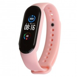 Силиконовый ремешок для фитнес браслета Xiaomi Mi Band 5 и 6 Pink