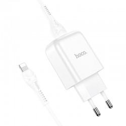 Сетевое зарядное устройство Hoco N2 (комплект с кабелем Lightning, для iPhone) 1USB, 2,1A White